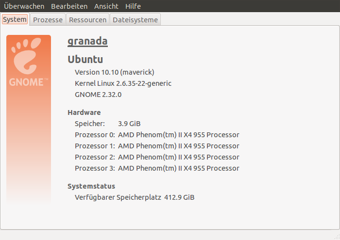 Kenndaten meines neuen Rechners: vier Prozessorkerne, vier Gigabyte Speicher, Ubuntu als Betriebssystem
