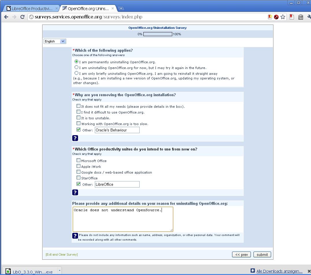 Oracle-Umfrage, warum OpenOffice.org de-installiert wird: Umstieg auf LibreOffice!